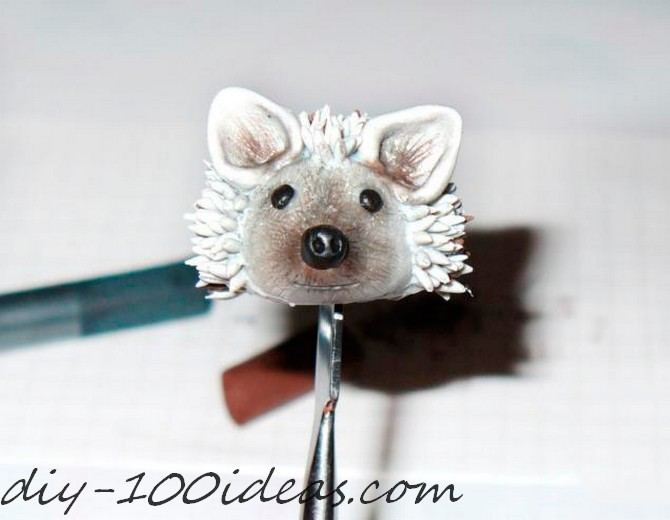 Polymer clay hedgehog TUTORIAL (27)