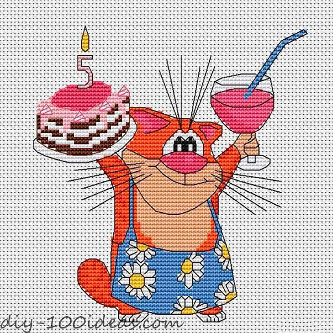 Free Happy Birthday cat pattern (1)
