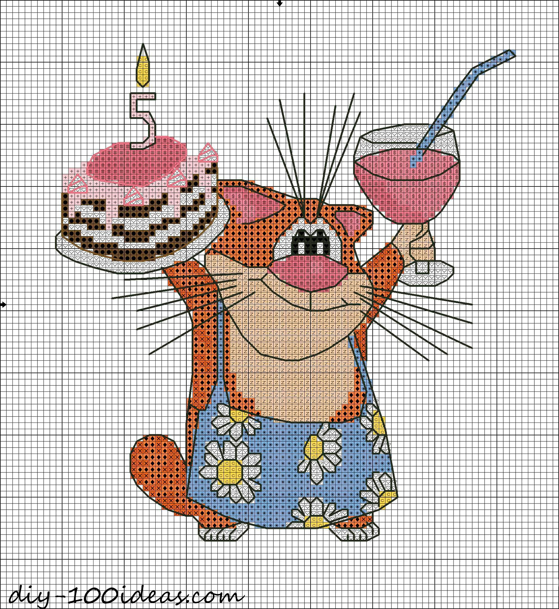 Free Happy Birthday cat pattern (3)