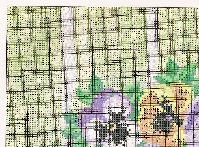 pansy cross stitch pattern free (2)