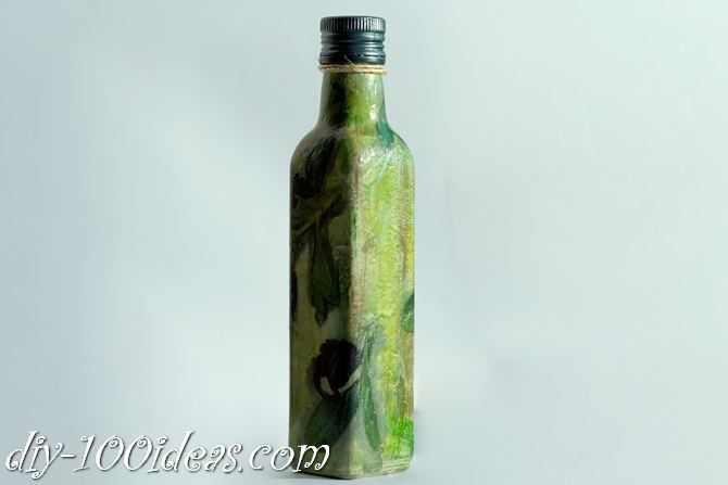 Decoupage Olive oil bottle  (1)