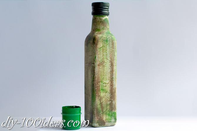 Decoupage Olive oil bottle  (5)