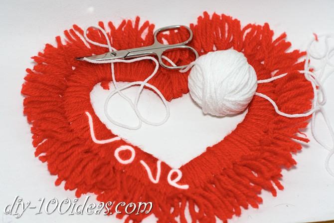 Valentine's Day Yarn Hearts craft (12)