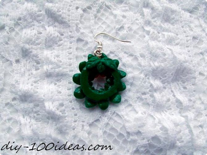 Polymer clay Christmas wreath earrings (3)