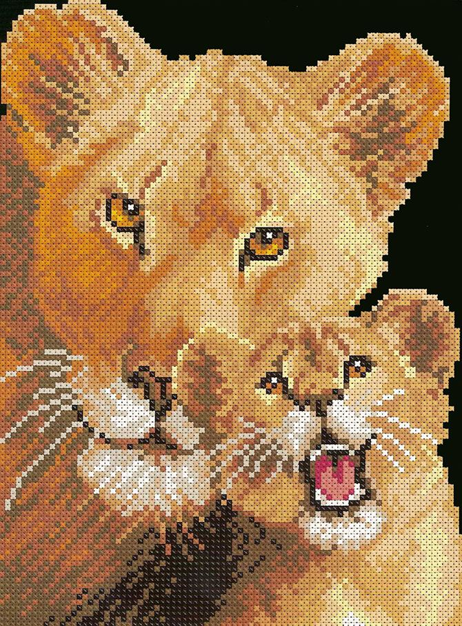 cross stitch pattern lioness and cub (1)