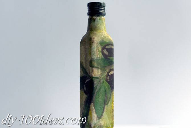 Decoupage Olive oil bottle  (10)