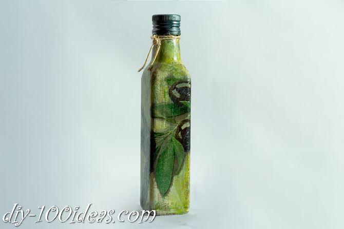 Decoupage Olive oil bottle  (12)
