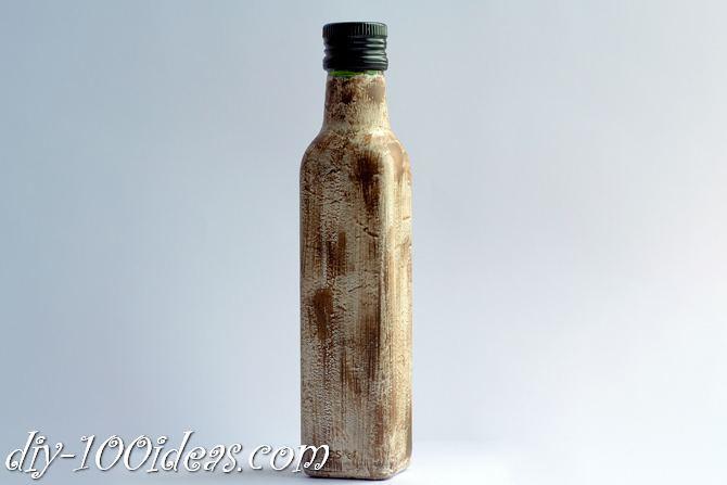 Decoupage Olive oil bottle  (4)