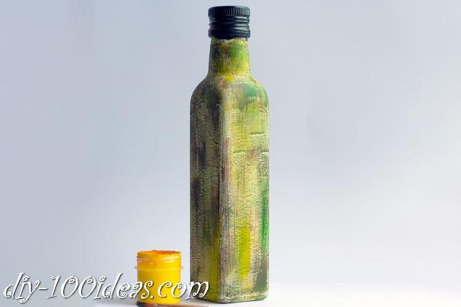 Decoupage Olive oil bottle  (6)