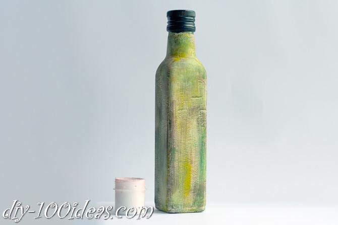 Decoupage Olive oil bottle  (7)