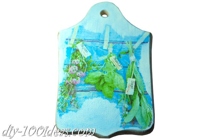 Decoupage wooden cutting board (6)