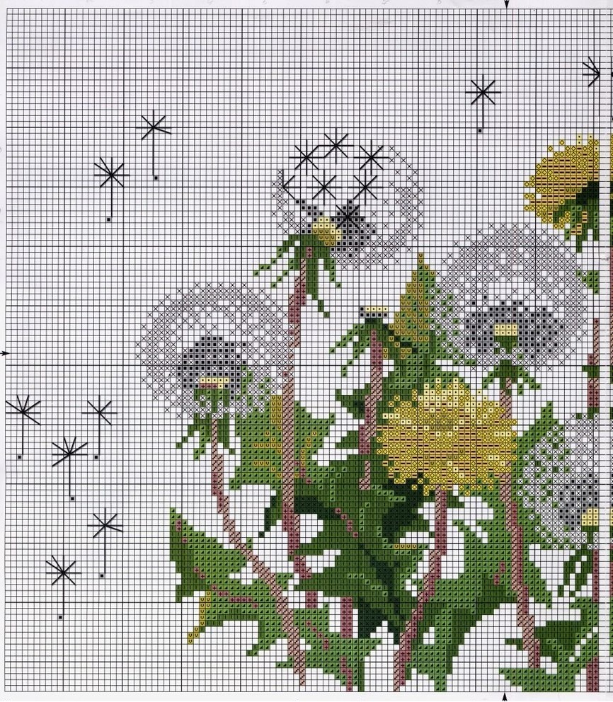 Free Cross stitch pattern Dandelions | DIY 100 Ideas