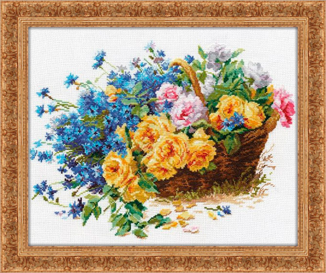 Free Cross stitch pattern Roses and Cornflowers | DIY 100