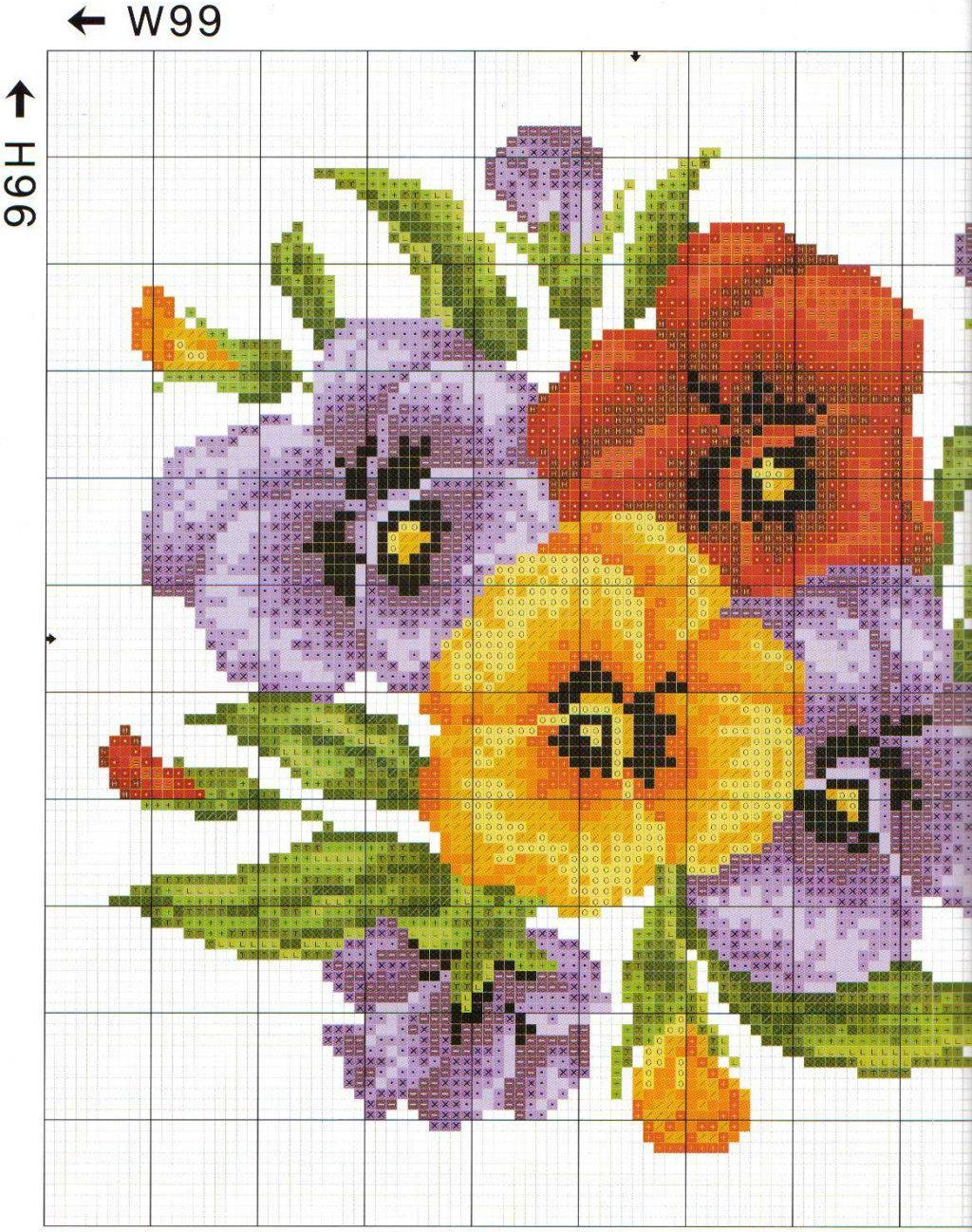 Free Cross stitch pattern Pansies | DIY 100 Ideas