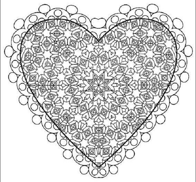 This is an image of Heart Stencil Printable in coloring