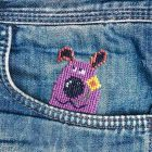 Cross Stitch Pattern Purple Dog