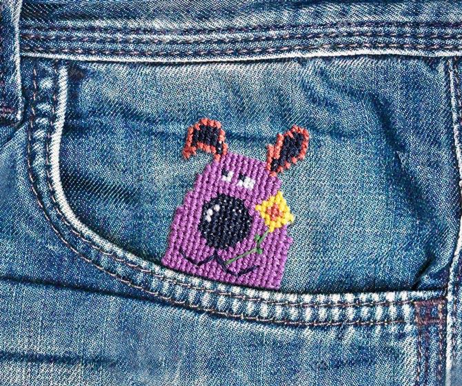 Cross stitch pattern purple dog diy 100 ideas for Cross in my pocket craft