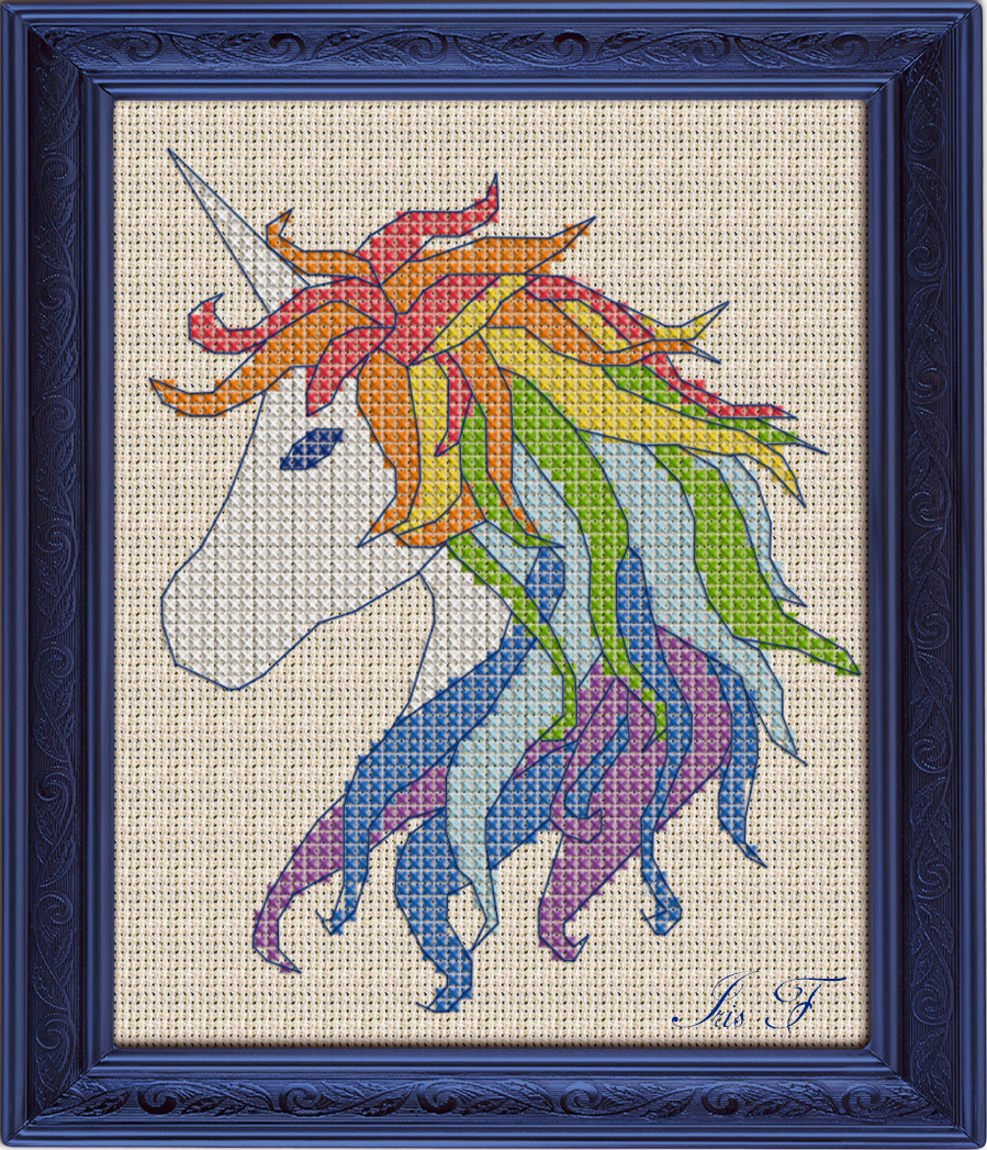 Priceless image within free printable unicorn cross stitch patterns