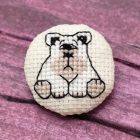 Cross Stitch Pattern White Dog Brooch