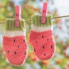 Crochet Tutorial Watermelon Newborn Baby Socks